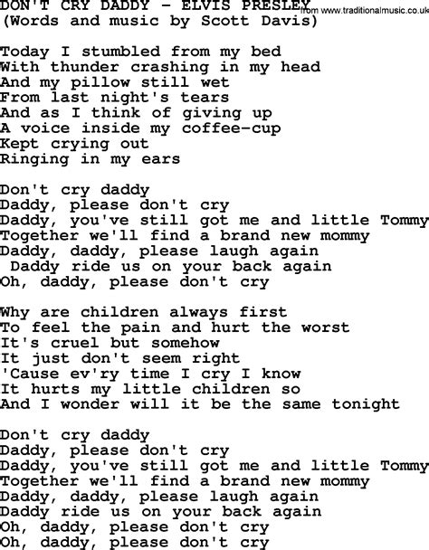 song t don t cry daddy by elvis presley lyrics