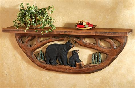 Antler Sconces Carved Wood Bear Family Wall Shelf