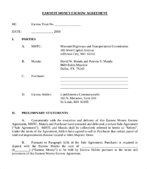 earnest money deposit agreement template money agreement template 8 free pdf documents