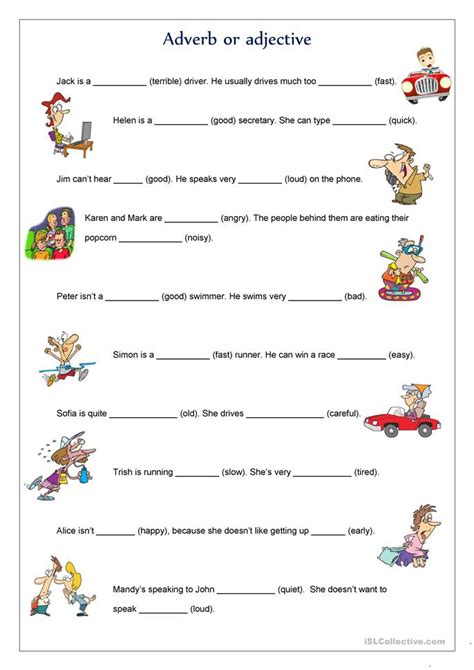 Free Adjective Worksheets by Adverb Or Adjective Worksheet Free Esl Printable