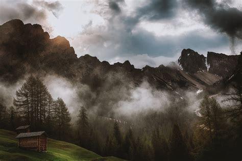 images cabin fog foggy hd wallpaper landscape