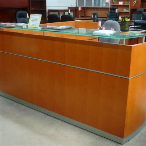 Advanced Liquidators Napoli Collection Wood Veneer L Napoli Reception Desk