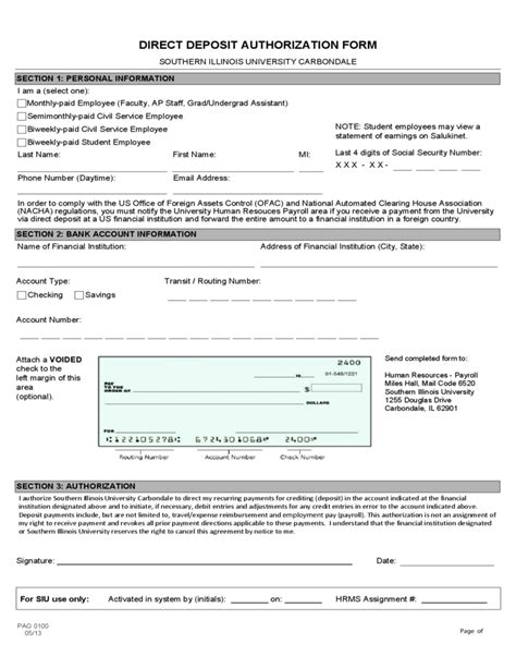 Social Security Office Carbondale Illinois by Direct Deposit Authorization Form Southern Illinois