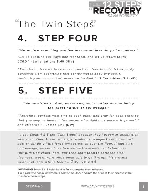 Na Step 4 Worksheet by The 12 Steps Of Recovery Savn Sobriety Workbook