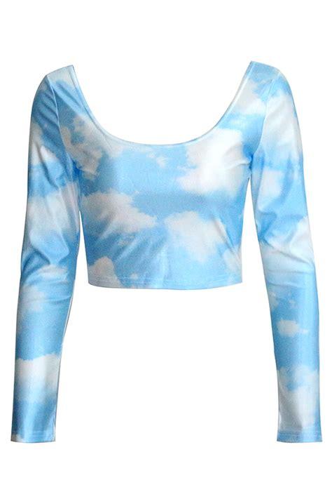 Blus Halter Crop Top Pendek Terbuka Import blue womens clouds fancy sleeves crop top pink