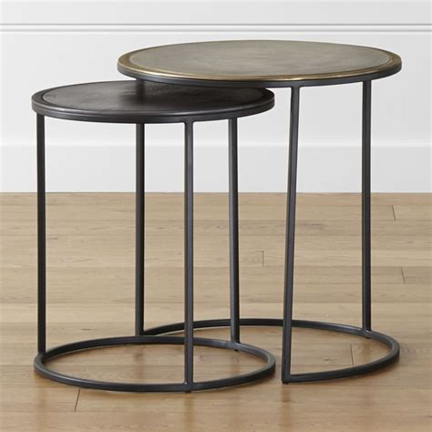 black nesting end tables knurl nesting accent tables set of two crate and barrel