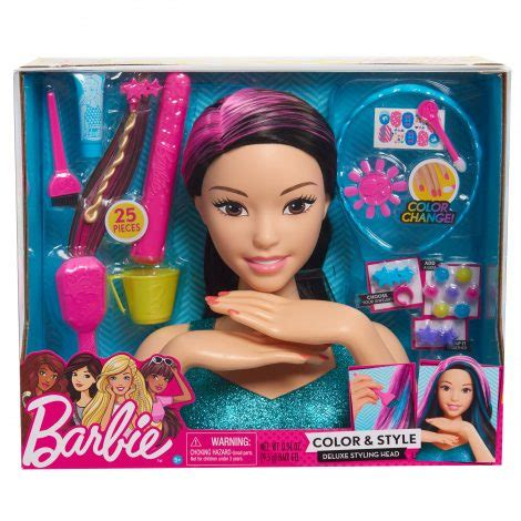 barbie color style deluxe styling head black hair