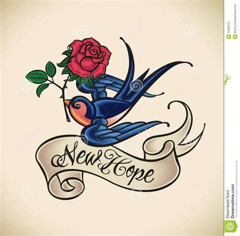new school tattoo vector swallow brings new hope stock vector image of sailor