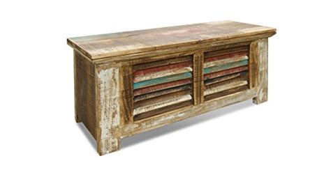 Crafters And Weavers Rustic Distressed Reclaimed Solid Distressed Wood Trunk Coffee Table