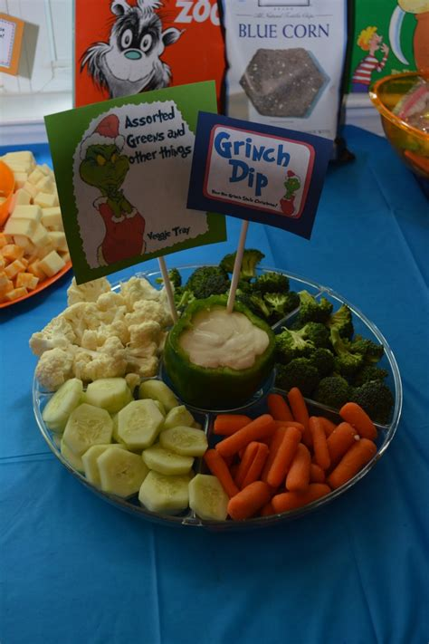 assorted greens     grinch dip  veggie tray  st birthday dr seuss party