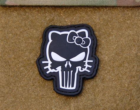 Patch Pacth Rubber Punisher Putih Patch Velcro 3d pvc hello punisher morale patch velcro 174 brand