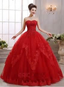 strapless floor length ball gown red wedding dress wedding