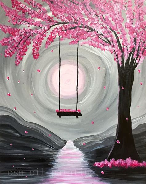 handpainting abstract paint nite whimsical spring blossom