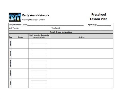 early years lesson plan template lesson plan template 9 free sle exle
