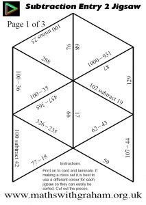 printable multiplication jigsaw puzzles subtraction
