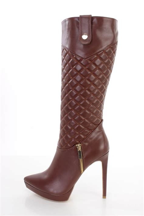 high heel boots brown quilted mid calf high heel boots faux leather