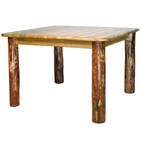Square Rustic Dining Table by Log Dining Table