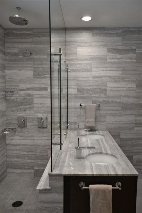 modern bathroom  stunning gray tile walls hgtv