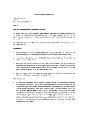 appointment letter to independent director fillable appointment letter of independent director