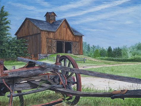 Country Farm House Plans Country Farm Painting By Vicky Path