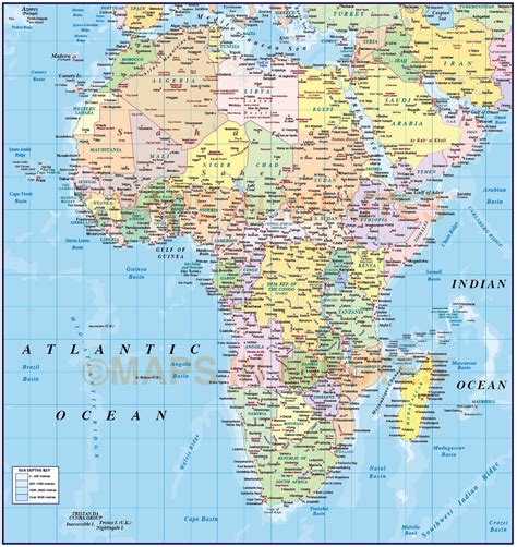 africa map oceans digital vector map of africa region political with