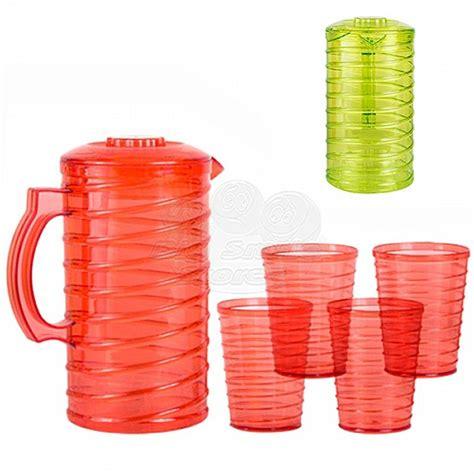bicchieri in plastica dura caraffa brocca con 4 bicchieri coppe in plastica dura
