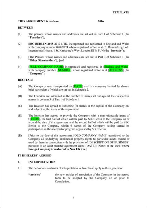 investment contract samples  word
