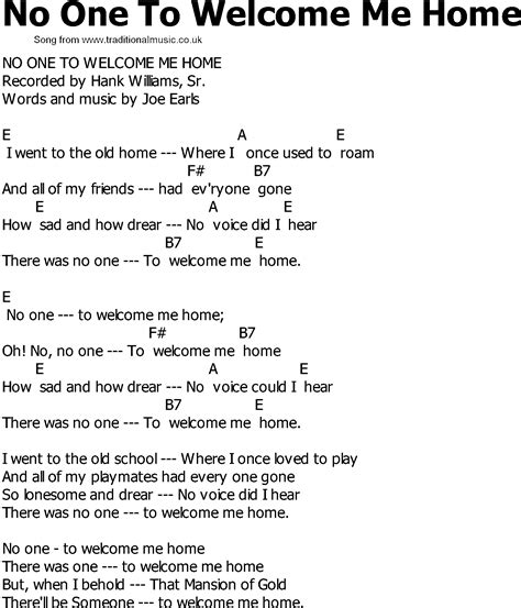 country song lyrics with chords no one to welcome me