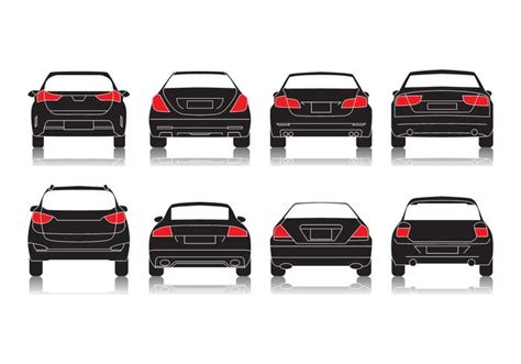 car rear view free car rear view icon vector free vector