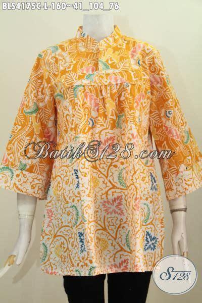 Batik Dress Kerah Kuning blus batik modern kerah shanghai baju batik trendy warna