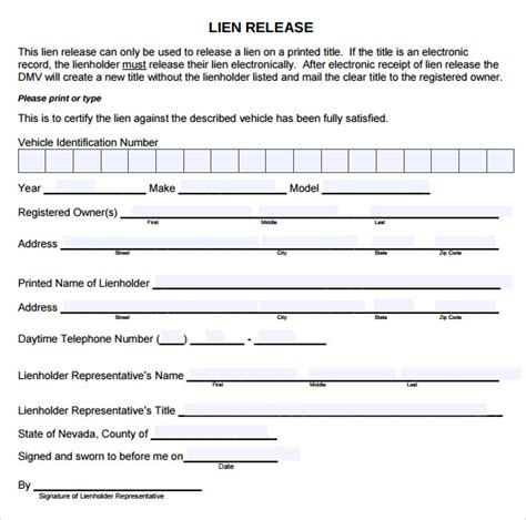 lien release template sle lien release form 8 free documents in pdf
