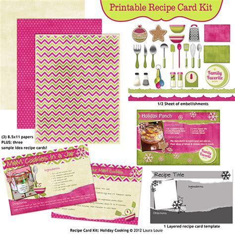 printable card kits printable recipe page kit merry menu