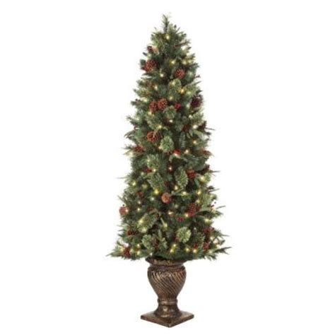 home depot live christmas trees martha stewart living 6 5 ft pre lit potted artificial tree with clear lights set of