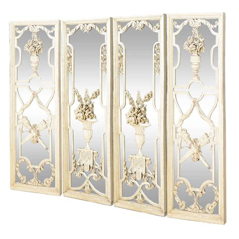 Decorative Mirror Panels by Spectacular Set Of Four Carved Wood Mirrored Panels At 1stdibs