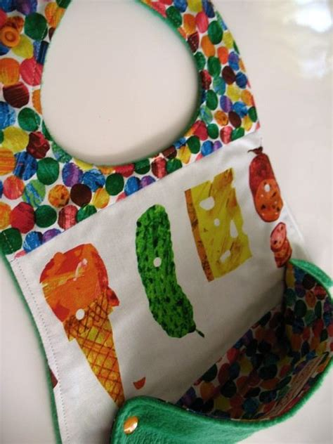 Patchwork Foods - snap scoop bib made from the hungry caterpillar