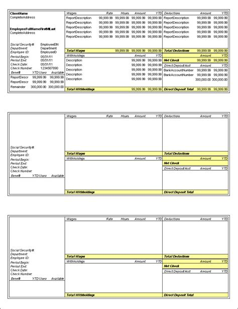 predefined payroll check layouts