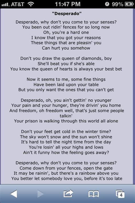 Desperado Eagles Lyrics