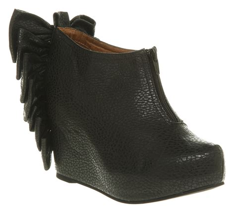 jeffrey cbell back bow wedge boots in black lyst
