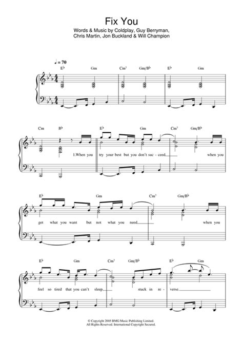 coldplay chords fix you fix you sheet music by coldplay easy piano 32726