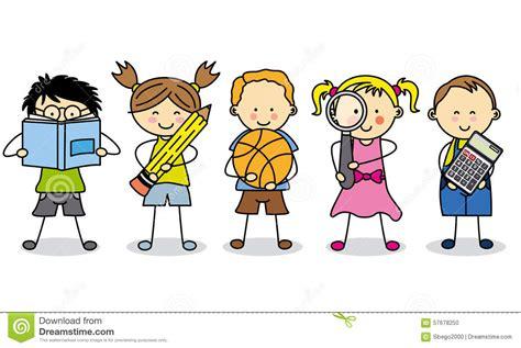 dibujos nios en la escuela children with school objects stock illustration image