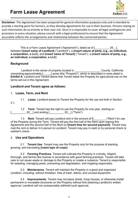 farm lease agreement template sle land lease templates for excel pdf and word