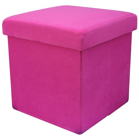 Beautiful Living Room Cube Storage #2: Cute-Pink-38cm-Folding-Storage-Pouffe-Cube-Foot-Stool-Seat-Ottoman-for-Toy-Box.jpg