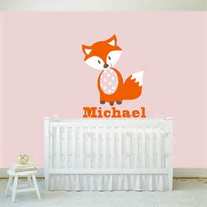Wall Stickers Personalised Fox Wall Decals Personalized Name Vinyl Wall Art Baby