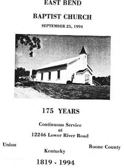A History of East Bend Baptist Church, Boone County