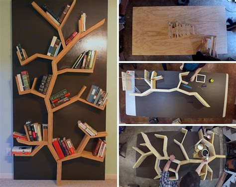 make your own diy tree bookshelf using plywood