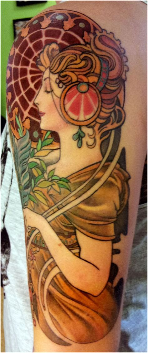 art nouveau tattoo best 25 alphonse mucha ideas on