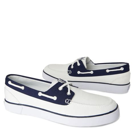 polo lander boat shoes ralph lauren lander vulcanized boat shoes in white for men