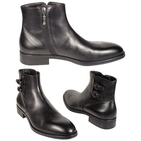 cesare paciotti mens shoes black leather 2 buckle zip