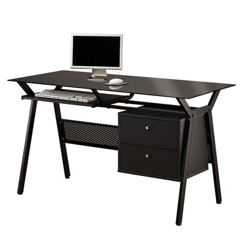 black desk with storage coaster computer desk with two storage drawers in black 800436