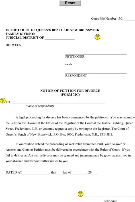 download new brunswick notice of petition for divorce form